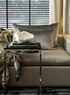 velvet linen and fur accessories for the living room - Eric Kuster