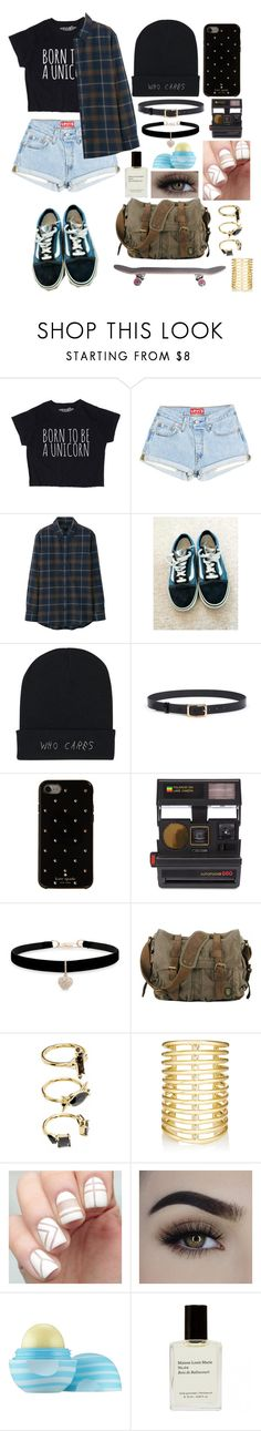 """My name is never was"" by tamiiasmith ❤ liked on Polyvore featuring Uniqlo, Vans, Kate Spade, Impossible Project, Betsey Johnson, Noir Jewelry, Jules Smith and Eos"