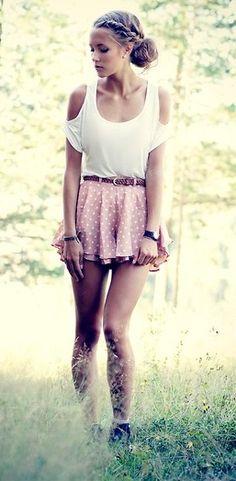cute pink polka dot skirt