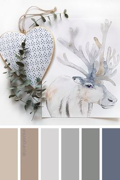 Follow @orangerinka for more! Calm color palette for home decor and outfit color inspiration based in original watercolor painting by @orangerinka #color #colorpalette #colorscheme #calm #monochrome #deer #gray