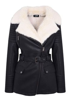 Wallis Black Leather Belted Jacket With Cream Faux Fur Lining, £79