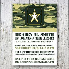 Army going away party invitation by SimpleDevineDesign on Etsy, $15.00