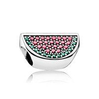 PAVE WATERMELON CHARM, RED & GREEN CZ, STERLING SILVER