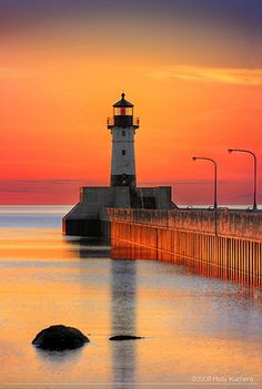 Canal Park Lighthouse Sunrise · Canal Park, Duluth Minnesota began operation in Beautiful World, Beautiful Places, Beautiful Pictures, Beautiful Sunset, Canal Park Duluth, Lighthouse Pictures, All Nature, Amazing Nature, Belle Photo