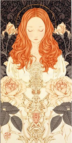 ⊰ Posing with Posies ⊱ paintings & illustrations of women & children with flowers - Innocence, Takato Yamamoto