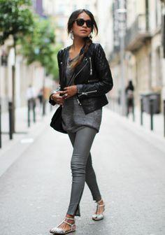 J Brand leather skinnys / anine bing leather jacket/zara flats