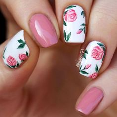 Pink Nails With Vintage Roses. Best Pink Nails Designs to Look Romantic and Girly #naildesignsjournal #nails #pinknails