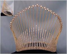Rhinestone Miss Beauty Queen Gold Pageant Crown Tiara