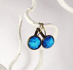 Ohrringe - Cabochon-Ohrringe, leuchtend blau - ein Designerstück von Tauna bei DaWanda