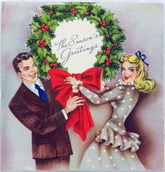 #1000 40s Happy Loving Couple- Vintage Christmas Greeting Card