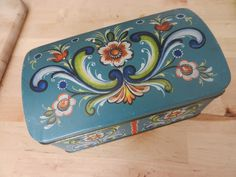Vintage Tin Painted Box/Chest Made in Norway by PickleRose on Etsy