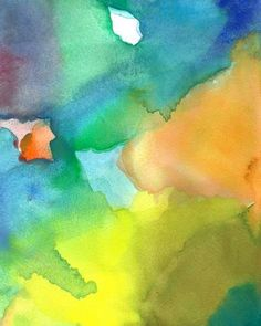 Open. Art Print of Original Watercolor Painting by soveryhappyart #colorful #abstract #art