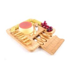 Refined-bam Bamboo Cheese Board And Knife Set With Accessories Drawer Holds - Buy Bamboo Cheese Board And Knife Set Product on Alibaba.com Buy Bamboo, Free Mom, Food Names, Knife Sets, Raw Materials, Bamboo Cutting Board, Drawer, Hold On, Cheese