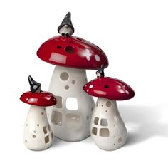 Lanterns in the shape of a mushroom with a small brownie on top. Cool Swedish product. Dream house