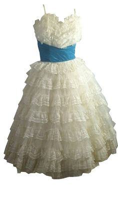 vintage Cupcake Tiered White Lace Party Dress  1950s by DorotheasCloset