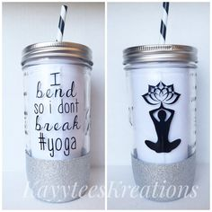 Handmade glitter dipped 24oz glass mason jar  This listing is for I bend so i dont break #yoga  The glitter & vinyl color are customizable.   **HAND WASH ONLY** Each item is hand made and glitter is sealed but to ensure you get the maximum use out of your personalized cup, please wash with soap, sponge, and warm water.   **IN DESCRIPTION- please include: -your choice of glitter color (2 if you choose ombre)  -your choice of vinyl color (and/or) colors