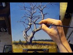 Free Acrylic Painting Lesson In Real Time - How To Paint a Tree - YouTube