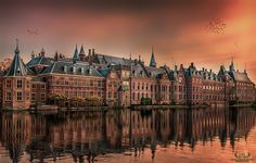 A beautiful golden hour at the Dutch parliament buildings in October 2015....