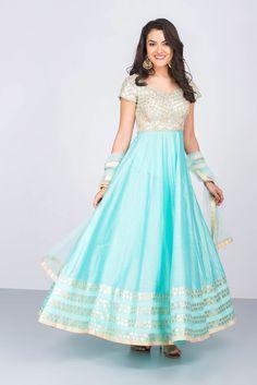 JIYA BY VEER blue embroidered anarkali #flyrobe #weddings #indianweddings #mehendioutfits #indianbride #designerwear #anarkali