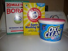 Homemade Cloth Diaper Detergent. 3 boxes washing soda, 3 boxes borax, 1 tub baby oxiclean. 1-2 TBS per load