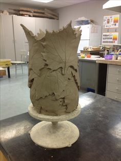 Slab constructed vase. Still drying.