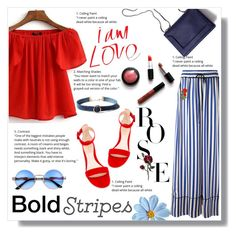 """""""Strong Stripes: Graphic Striped Pants"""" by nadia-gadelmawla ❤ liked on Polyvore featuring Off-White, 3.1 Phillip Lim, WithChic, casualoutfit, CasualChic, stripedpants, redtop and opentoeheels"""