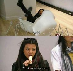 And also clearly enjoyed watching Kim fall: