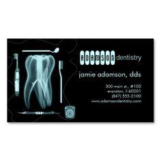 dentist business card x-ray themed