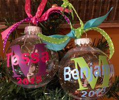 Baby girl boy baby's 1st Christmas Personalized Christmas Ornament Ball Name and Initial, new baby gift, Can put hospital bracelet inside by ArtsyWallsAndMore on Etsy
