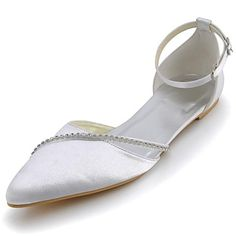 Satin Women's Wedding Flats Heel Pointed Toe Sandals with Rhinestone Shoes(More Colors) - USD $ 34.99