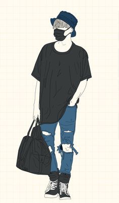 PLEASE DON'T REUPLOAD  Suga Airport Fashion - Phone Wallpapers Badass Drawings, Bts Drawings, Pencil Art Drawings, Pop Art Wallpaper, Cartoon Wallpaper, Character Illustration, Illustration Art, Arte Peculiar, Trill Art