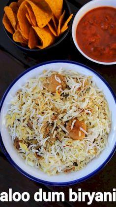 aloo dum biryani recipe, dum aloo biriyani, potato dum biryani with step by step photo/video. traditional biriyani recipe with baby potatoes in cooker. Aloo Recipes, Spicy Recipes, Curry Recipes, Cooking Recipes, Cooking Tips, Indian Veg Recipes, Indian Dessert Recipes, Indian Snacks, Dinner Recipes