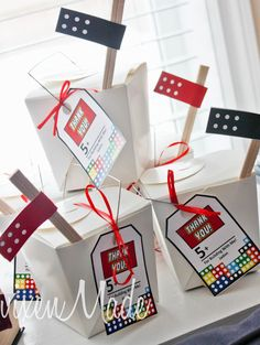 Ninjago party ideas - especially love the chinese take-out favor boxes with chopstick flags!