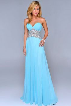 2014 Prom Dress Ruched Bust Beaded Tulle Waist A Line Chiffon Floor Length