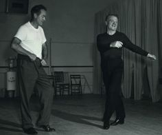 James Cagney and Bob Hope during rehearsals for The Seven Little Foys