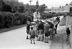 An ice cream man in Mount Merrion, Dublin, Ireland, with children wishing to have an ice cream, but! Photo taken v Old Pictures, Old Photos, Vintage Photos, Old Irish, Classic Photography, Ireland Homes, St Anne, Dublin City, Dublin Ireland