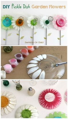 Make your own pickle dish garden art flowers! They''re fast, easy, and super cute. Free tutorial. #spon