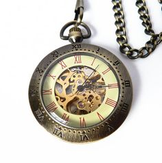 Steam Punk Pocket Watch - Time Meter - Skeleton Pocket Watch on a Pocket Watch Chain