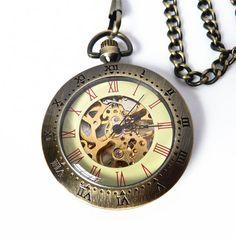 Steam Punk Pocket Watch - Time Meter - Skeleton Pocket Watch on a Pocket Watch Chain #FABjewelry #Jewelry #Accessories