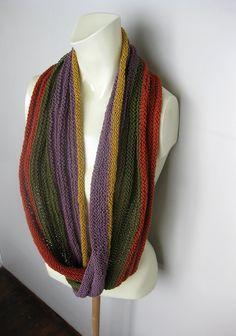 Infinity Hand Knitted Scarf Brick Olive Green by avivaschwarz, $53.00