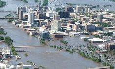 An aerial image of downtown shows flood-affected areas June 13, 2008