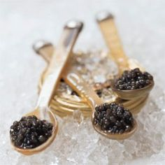 Caviar~ Classic caviar: Caspian Sea, Iran or Russia. Caspian Sea famous for 3 world's known sturgeon species: Beluga, Ossetra and Sevrug,best in the world. Black caviar a luxury food