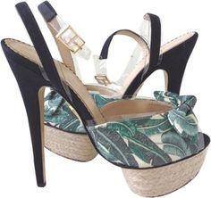 7db8608f435 Charlotte Olympia Green Serena Vinyl Bow Black Green Platform 38 Sandals  Size US 8 Regular (M