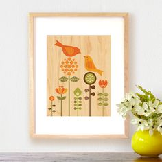 Petit Collage bird love print on maple veneer. Available in two sizes, both fit standard frames. Unframed print arrives matted and sealed in a glossy sleeve.