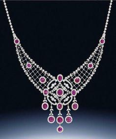 A belle époque ruby and diamond necklace,