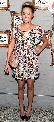 lauren conrad - alice + olivia dress & chanel bag.