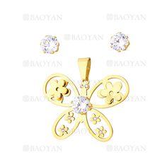 juego colgante y aretes de mariposa con flores y cristal en acero dorado inoxidable -SSSTG1074314