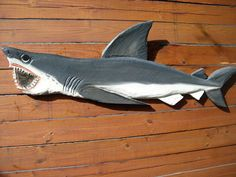 Great White Shark 5ft chainsaw wood carving by oceanarts10 on Etsy, $249.00