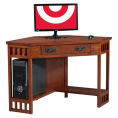 Mission Corner Desk Oak Brown Leick Furniture