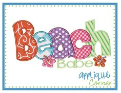 Applique Corner Applique Design, Beach Babe Applique Design